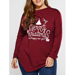Plus Size Merry Christmas Graphic Asymmetric T-Shirt - Purplish Red C5 - Xl