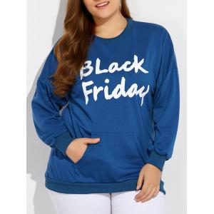 Black Friday Print Kangaroo Pocket Sweatshirt - Blue - 2xl