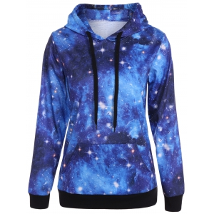 Plus Size Kangaroo Pocket Galaxy Hoodie