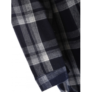 Plus Size Checked Borg Long Sleeve Flannel Lined Shirt -