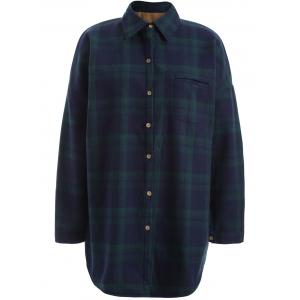 Plus Size Checked Borg Long Sleeve Flannel Lined Shirt