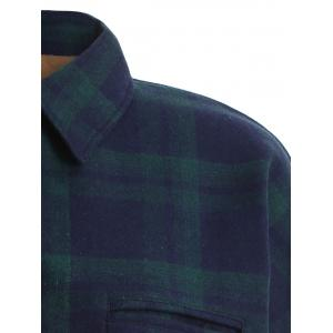 Plus Size Checked Borg Long Sleeve Flannel Lined Shirt - GREEN XL