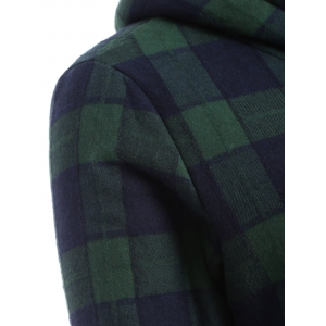 Hooded Checked Borg Lined Coat - BLUE/GREEN 3XL