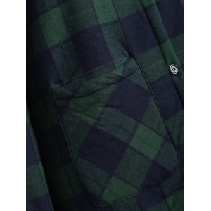 Hooded Checked Borg Lined Coat - BLUE AND GREEN 3XL