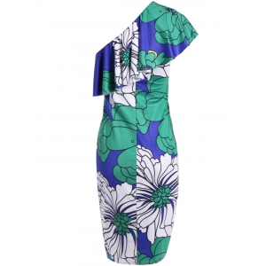 One Shoulder Large Floral Print Bodycon Dress - COLORMIX S