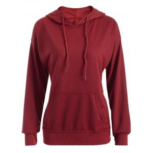 Drop Shoulder Pocket Design Drawstring Hoodie