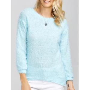 Drop Shoulder Long Fuzzy Sweater - Sky Blue - S