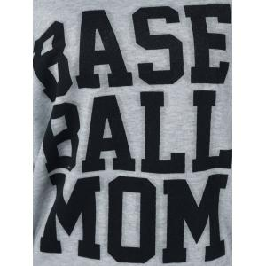 Base Ball Mom Skew Collar Sweatshirt - LIGHT GRAY M