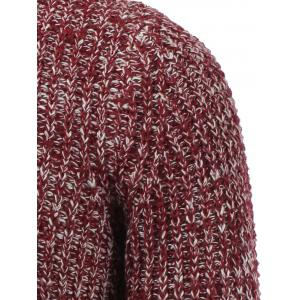 Crew Neck Heather Ribbed Knitted Pullover Sweater - RED 2XL