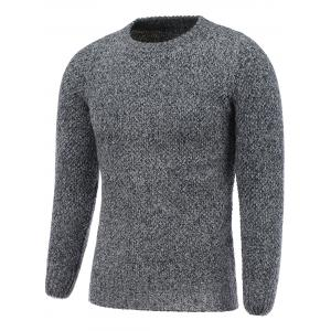 Crew Neck Heather Ribbed Knitted Pullover Sweater - Gray - L