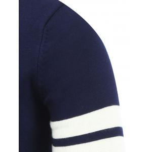 Crew Neck Striped Sleeve Pullover Knitwear - CADETBLUE 2XL