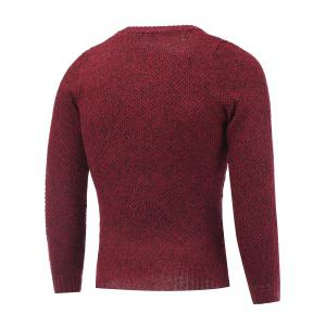 Crew Neck Heather Tweed Pullover Sweater - WINE RED 2XL