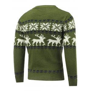Snowflake Deer Pattern Crew Neck Christmas Sweater -