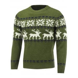 Snowflake Deer Pattern Crew Neck Christmas Sweater - Green - Xl