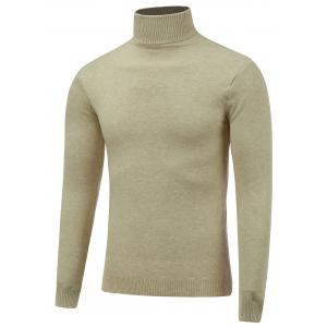 Stretchy Roll Neck Pullover Knitwear - Beige - L