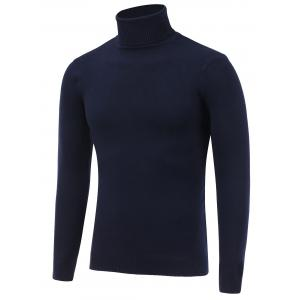 Stretchy Roll Neck Pullover Knitwear - Cadetblue - L