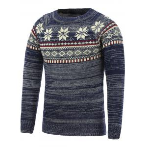 Christmas Snowflake Jacquard Pullover Sweater - Cadetblue - 2xl