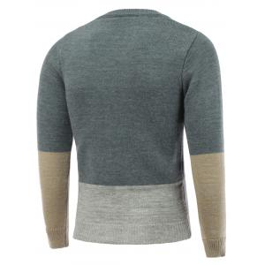 Crew Neck Pullover Color Block Sweater - LIGHT GRAY 2XL