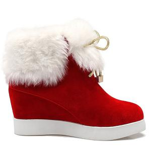 Wedge Heel Furry Ankle Boots - RED 39