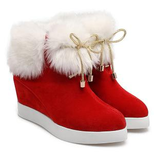 Wedge Heel Furry Ankle Boots -