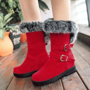 Buckle Straps Furry Mid Calf Boots - RED 39