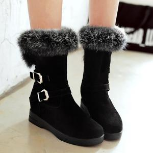 Buckle Straps Furry Mid Calf Boots - Black - 38
