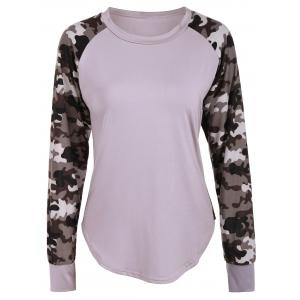 Raglan Sleeve Camouflage Panel T-Shirt - Light Khaki - M