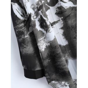 Plus Size Ink Painting Irregular Blouse - BLACK 4XL
