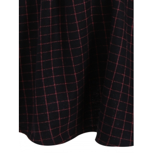 Faux Twinset Plaid Dress - DARK RED L