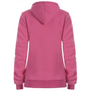 Half Zip Side Kangaroo Hoodie Pocket - rose XL