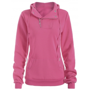 Side Half Zip Kangaroo Pocket Hoodie