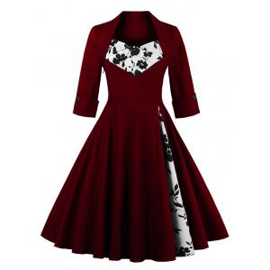Knee Length Floral Flare Corset Dress - Wine Red - 4xl