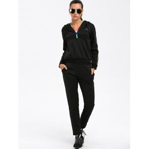 Half Zip Striped Hoodie with Pants Suit -