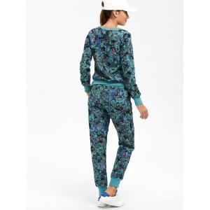 Floral Print Graphic Sweatshirt with Jogger Pants -