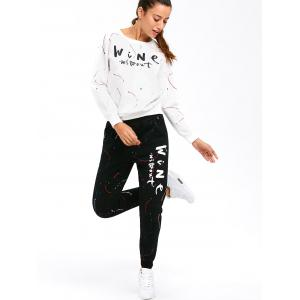 Graphic Sweatshirt with Jogger Pants - WHITE 3XL