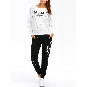 Graphic Sweatshirt with Jogger Pants - White - Xl