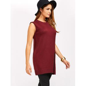 Slit Sleeveless Jumper Vest Sweater - WINE RED 5XL