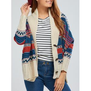 Batwing Sleeve Striped Jacquard Cardigan - Beige - One Size