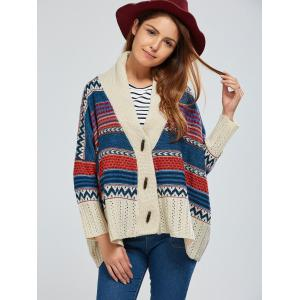 Batwing Sleeve Striped Jacquard Cardigan - BEIGE ONE SIZE
