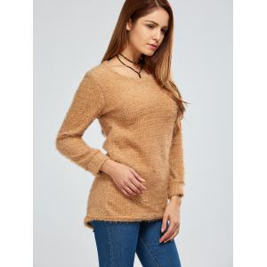Fuzzy Knit Pullover Sweater - BROWN XL