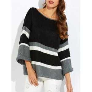 Flare Sleeve Striped Jacquard Sweater - Black - One Size