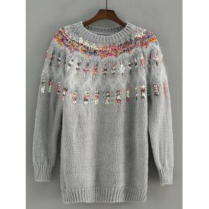 Floral Embroidered Crew Neck Pullover Sweater