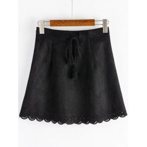 Drawstring Mini A Line Suede Fabric Dress