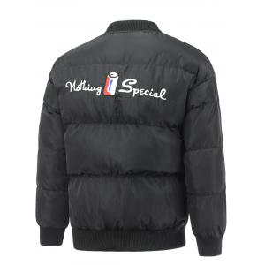Embroidered Snap Front Padded Jacket -