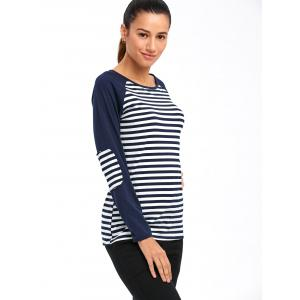 Elbow Patch Raglan Sleeve Striped T-Shirt -