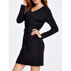 Drawstring Grasp Waist Double Front Pockets Knit Dress -
