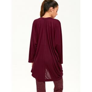 Open Front Long Sleeve Plain Knit Cardigan - BURGUNDY XL