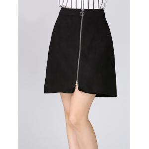 Zip Up A Line Suede Mini Skirt -