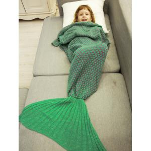 Polka Dot Design Bed Sleeping Bag Knitted Mermaid Blanket - LIGHT GREEN