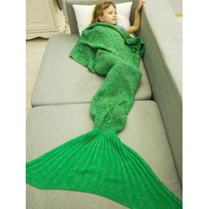 Polka Dot Design Bed Sleeping Bag Knitted Mermaid Blanket -